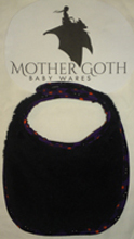 Mother Goth bats black baby bib