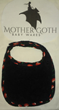 Mother Goth cherries black baby bib