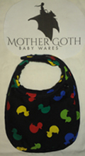 Mother Goth duckies black baby bib