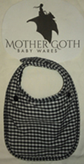 Mother Goth gingham picnic black baby bib