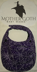Mother Goth purple webs black baby bib