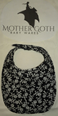 Mother Goth skulls black baby bib