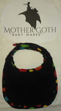 Mother Goth spots black baby bib