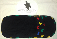 Mother Goth duckies black baby burp cloth